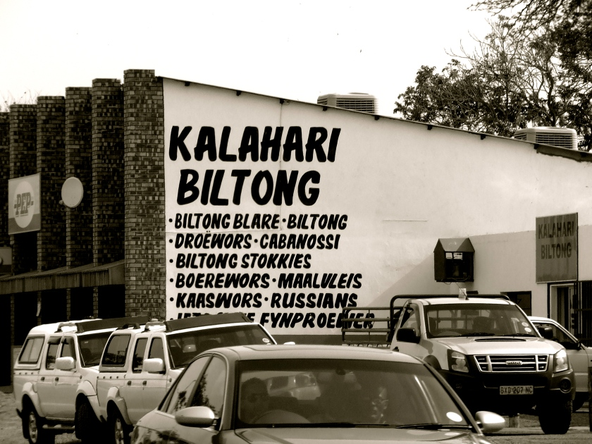 a butchery in the kalahari advertises its fare