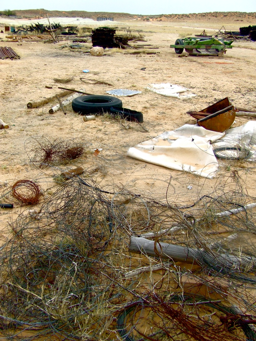 debris on a kalahari farm
