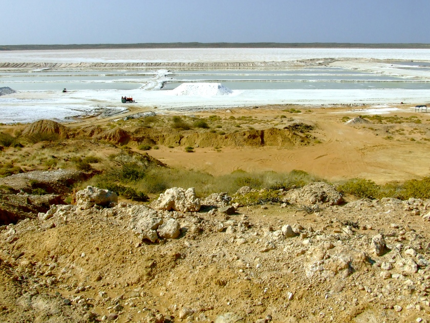 a salt pan in the kalahari
