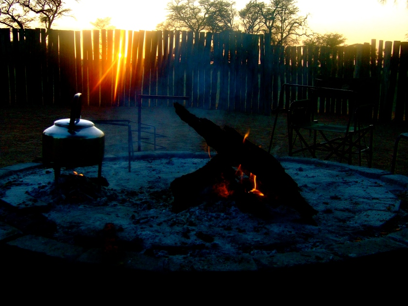 tea and sunrise in the kalahari