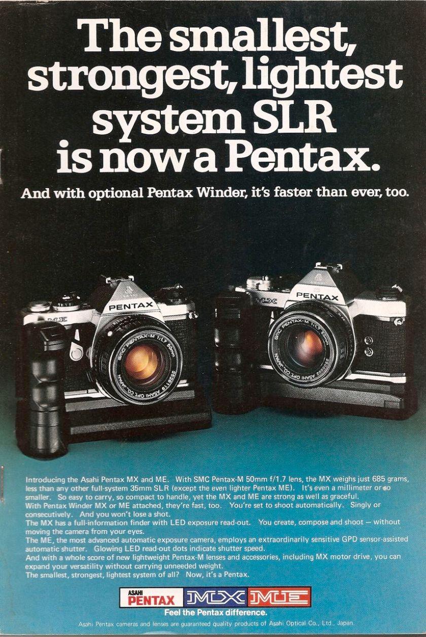 pentax mx me 35mm slr camera ad