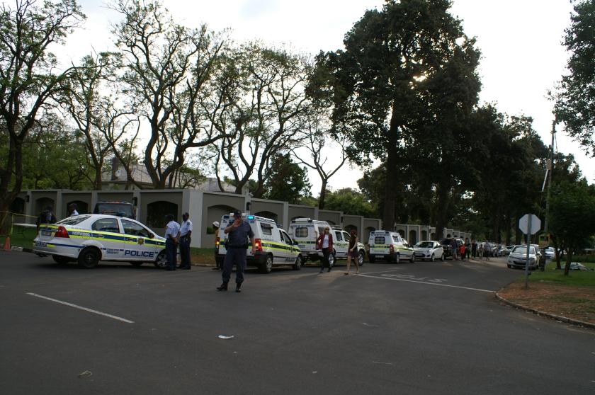 police outside mandela residence houghton johannesburg