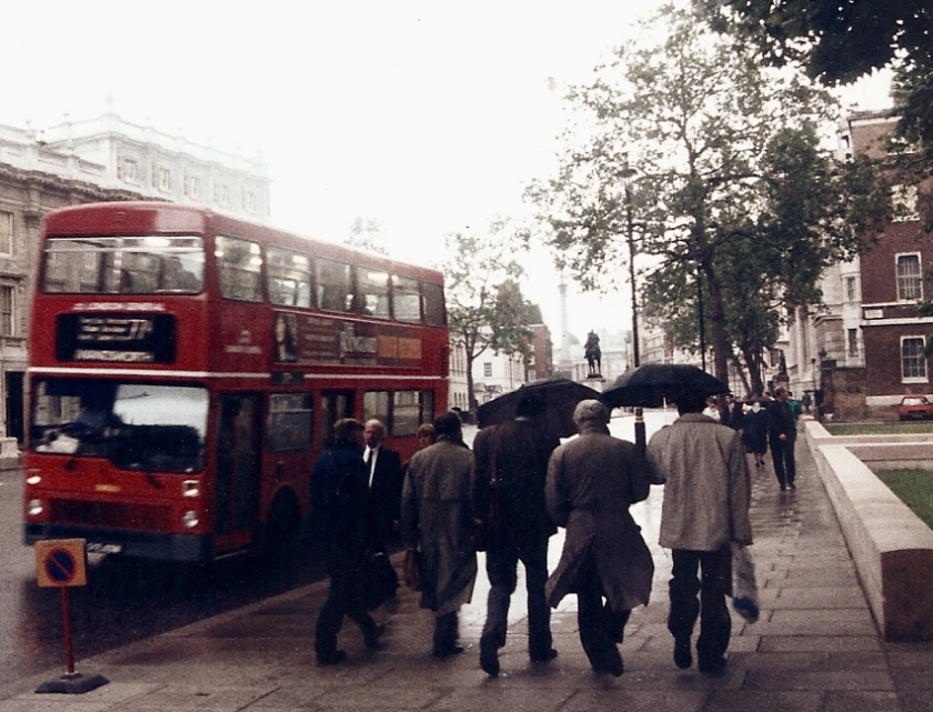 london bus on a rainy day