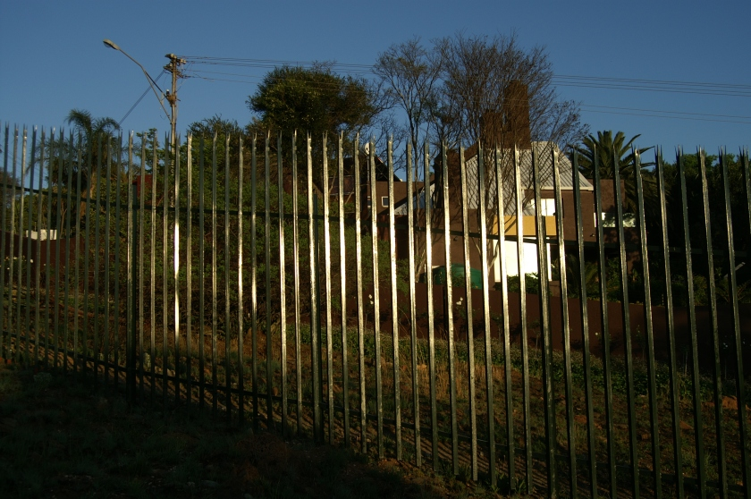 palisade fence on melville koppies municipal nature reserve