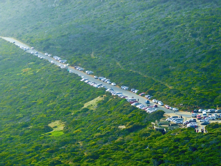 the car park at cape point on a busy day