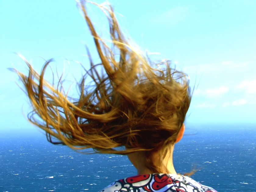 hair blowing in cape point wind