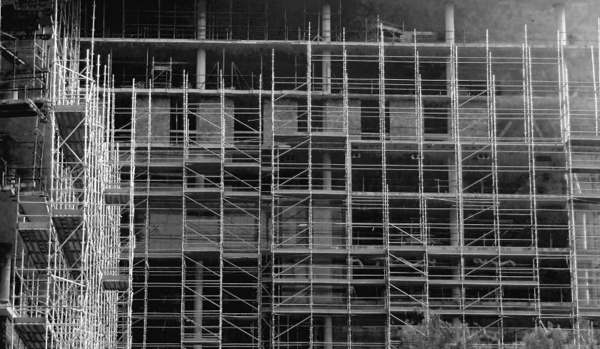 scaffolding at Sandton construction site