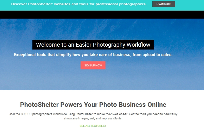 photoshelter home screen